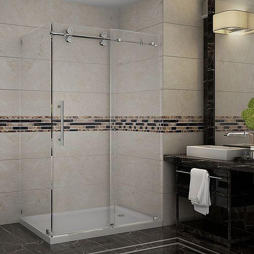 Aston Langham 48-Inch  x 35-Inch  x 77 1/2-Inch  Frameless Shower Stall with Sliding Door in Chrome