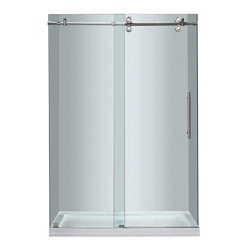 Aston 48 Inch x 77.5 Inch Frameless Sliding Shower Door with Center Base