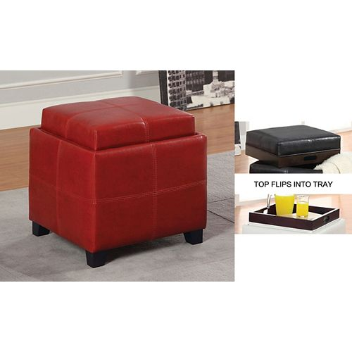 Anton II 18-inch x 19-inch x 18-inch Manufactured Wood Ottoman in Red