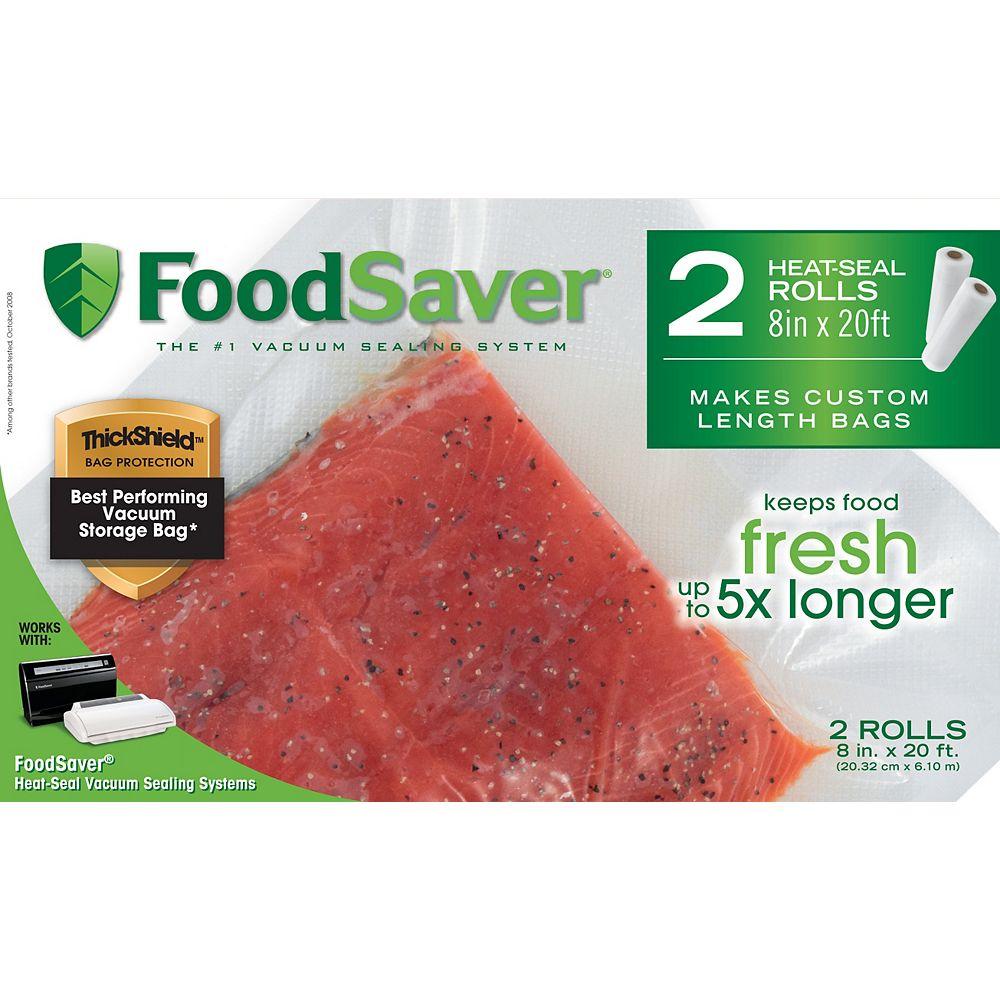 Foodsaver 8 in. x 20 ft. Freezer Heat-Seal Rolls (2-Pack)
