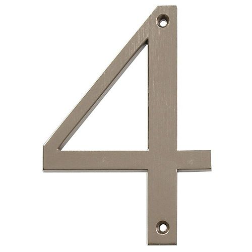 4-inch Brushed Nickel House Number 4 - 1pc