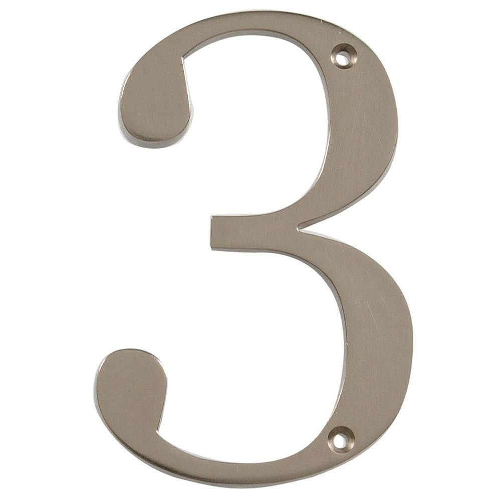 Hillman 4 Inch Brushed Nickel House Number 3