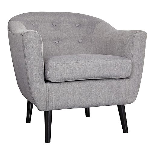 Nora Transitional Club Accent Chair in Grey with Solid Pattern