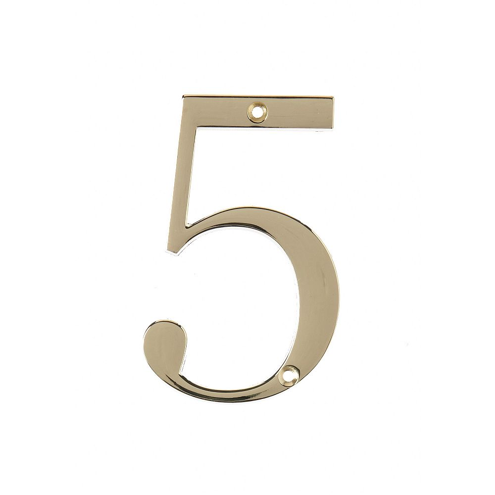 Hillman 4 Inch Brass House Number 5