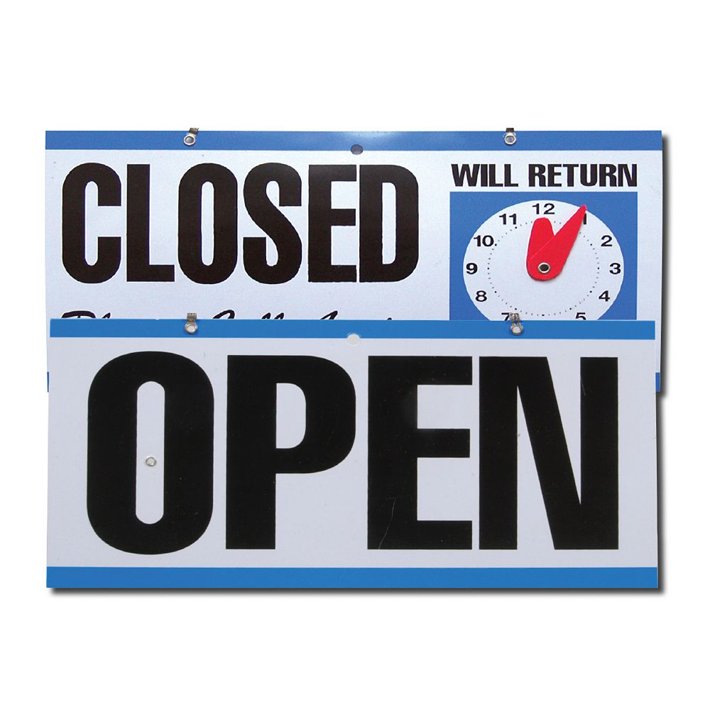 Hillman Open/Close Sign With Clock