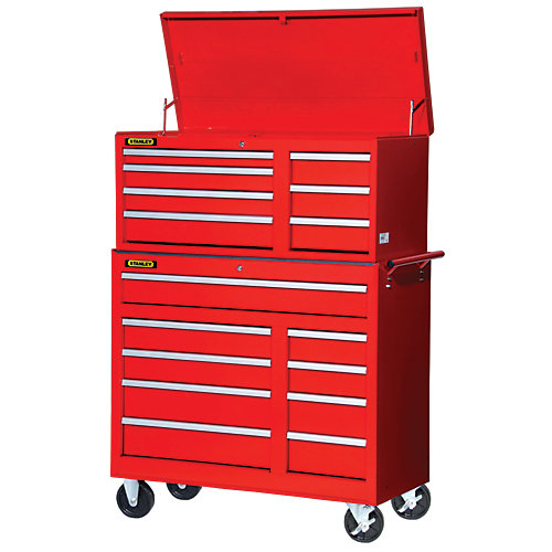 42 Inch 16 drawer Chest and Cabinet, Red