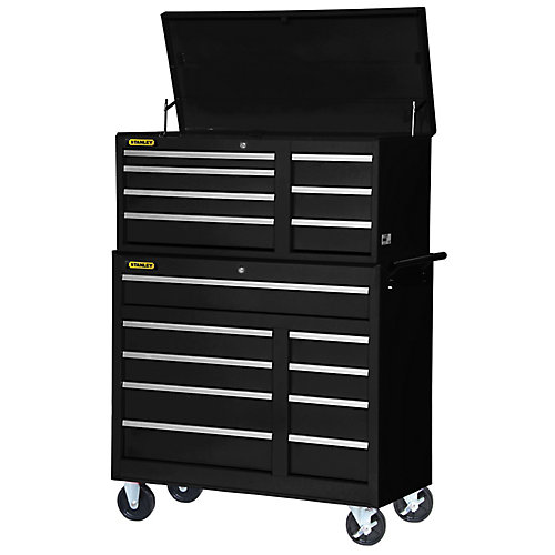 42-inch 16-Drawer Chest and Cabinet in Black