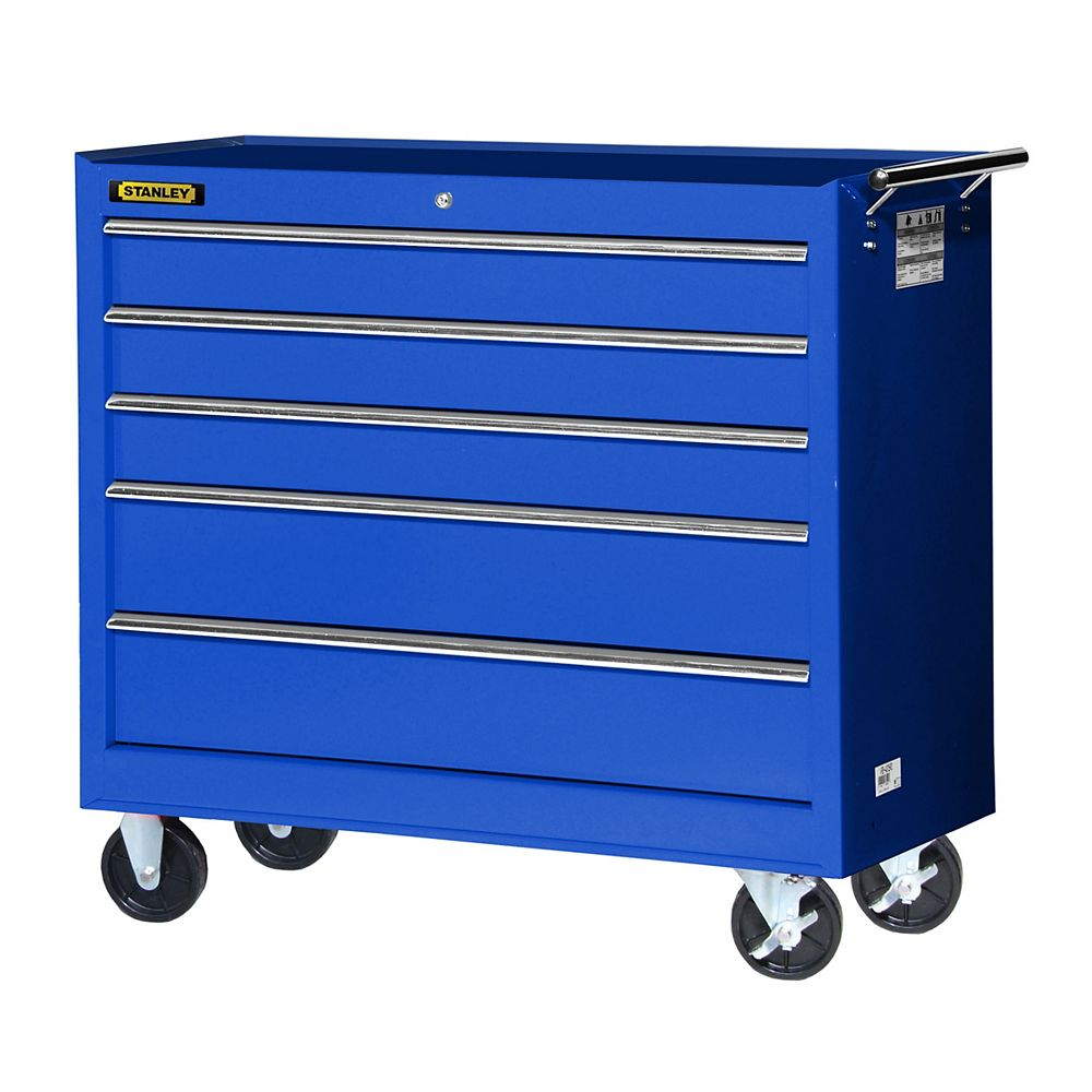 STANLEY 42-inch 5-Drawer Cabinet in Blue | The Home Depot ...