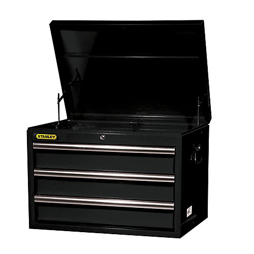 27-inch 3-Drawer Deep Top Chest in Black