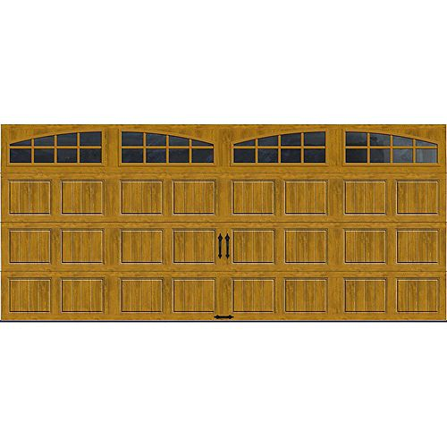 Clopay Porte de garage Collection Gallery 16pi x 7pi Valeur R 18.4 isolée en ployuréthane Intellicore Fini Pâle Fenêtres Arch