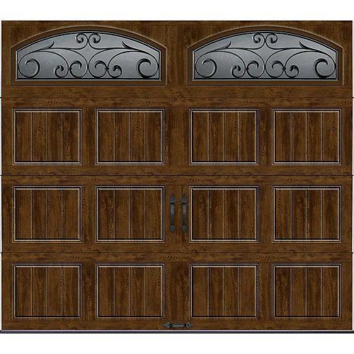 Clopay Porte de garage Collection Gallery 8pi x 7pi Valeur R 18.4 isolée en ployuréthane Intellicore Fini Noyer Fenêtres