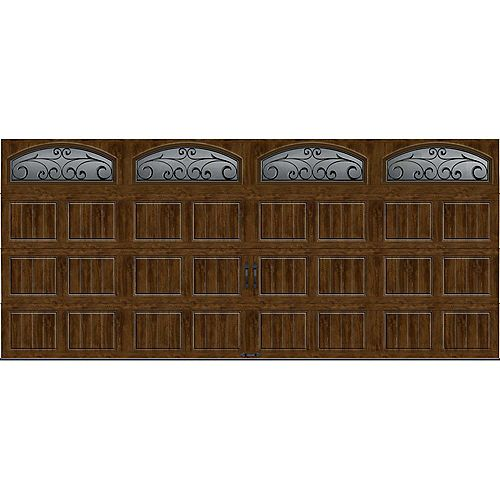 Porte de garage Collection Gallery 16pi x 7pi R 18.4 isolée en ployuréthane Intellicore Fini Noyer Fenêtres