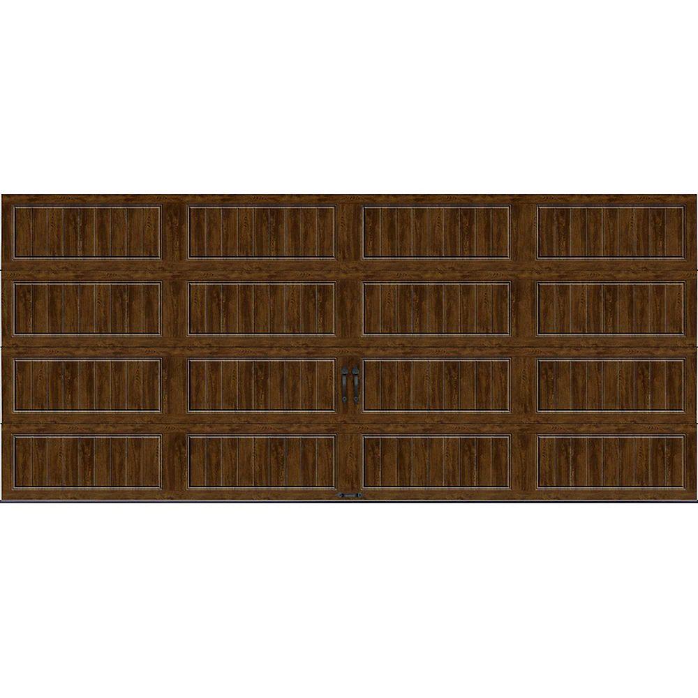 Clopay Porte de garage Collection Gallery 16pi x 7pi Valeur R 18.4 isolée en ployuréthane Intellicore Ultra Grain Fini Noyer