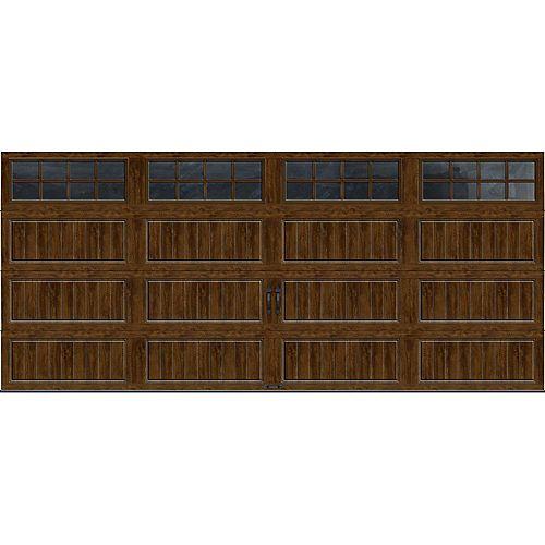 Porte de garage Collection Gallery 16pi x 7pi R 18.4 isolée en ployuréthane Intellicore Fini Noyer Fenêtres SQ24