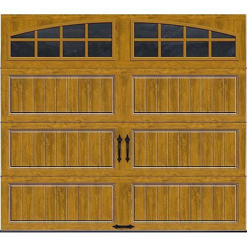 Porte de garage Collection Gallery 8pi x 7pi Valeur R 18.4 isolée en ployuréthane Intellicore Fini Pâle Fenêtres Arch