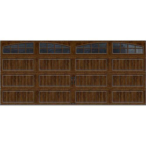 Porte de garage Collection Gallery 16pi x 7pi R 18.4 isolée en ployuréthane Intellicore Fini Noyer Fenêtres Arch