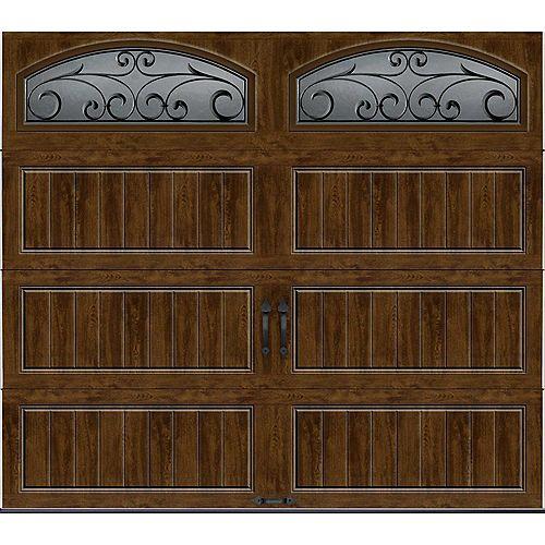 Porte de garage Collection Gallery 8pi x 7pi Valeur R 18.4 isolée en ployuréthane Intellicore Fini Noyer Fenêtres
