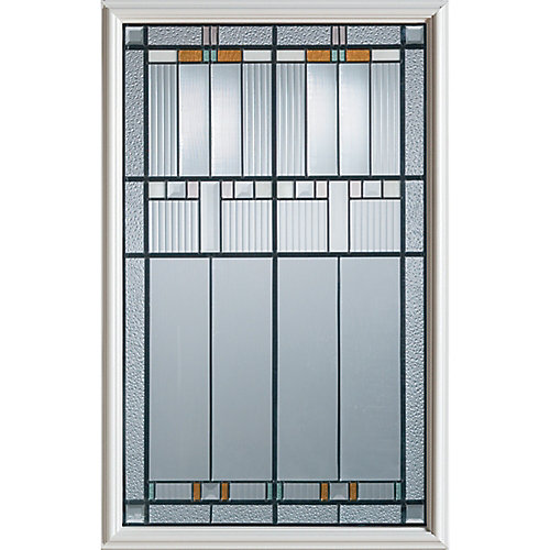 23 inch x 37 inch Chicago Patina Caming 1/2 Lite Decorative Glass Insert - ENERGY STAR®