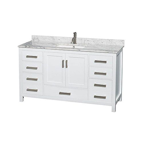 Sheffield 60-inch W 7-Drawer 2-Door Freestanding Vanity in White With Marble Top in White