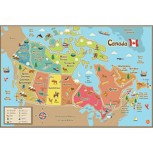 Carte Canada pour enfants - autocollante et effaçable à sec