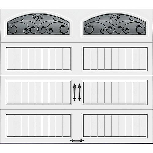 Clopay Gallery Collection 8 ft. x 7 ft. Intellicore Insulated White Garage Door with Wrought Iron Window