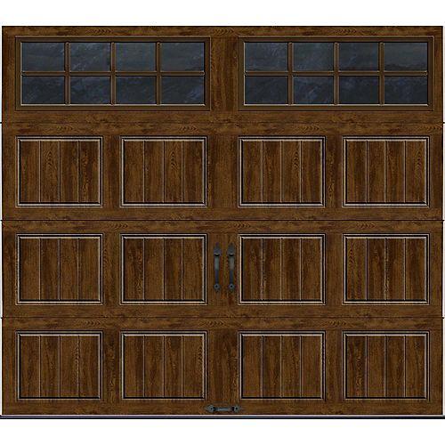 Porte de garage Collection Gallery 8pi x 7pi Valeur R 18.4 isolée en ployuréthane Intellicore Fini Noyer Fenêtres SQ24