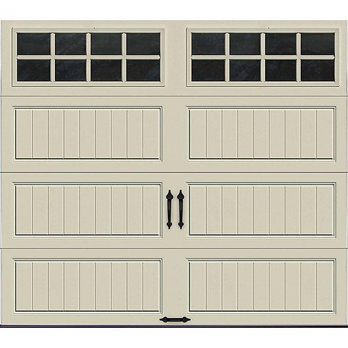 Porte de garage Collection Gallery 8pi x 7pi Valeur R 6.5 isolée en polystyrène Dune Avec fenêtres SQ24