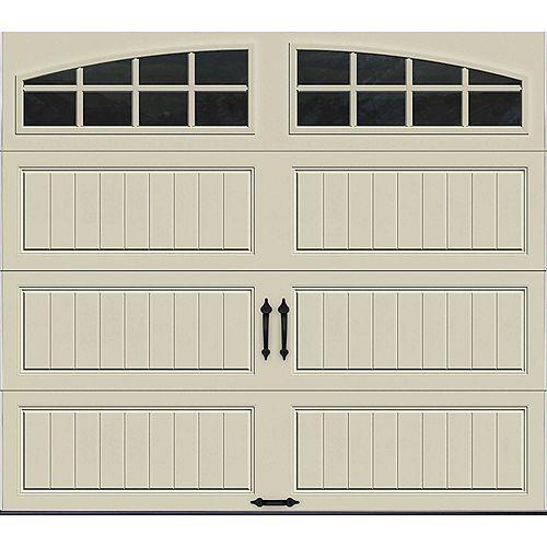 Porte de garage Collection Gallery 8pi x 7pi Valeur R 6.5 isolée en polystyrène Dune Avec fenêtres Arch