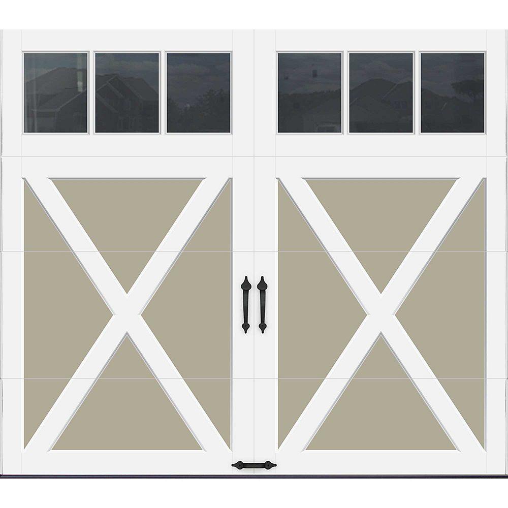 Clopay Porte de garage Collection Coahman 8 pi x 7 pi Valeur R 18.4 isolée en polyuréthane intellicore Sable Fenêtres REC13