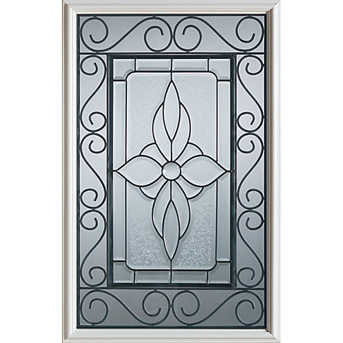 23 inch x 37 inch Wrought Iron 1/2 Lite Decorative Glass Insert