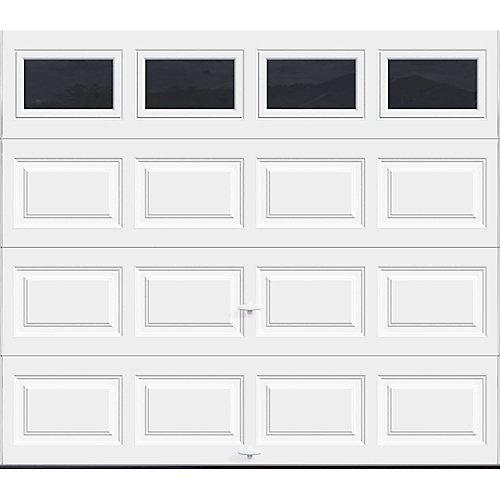 Premium Series 8 ft. x 7 ft. 18.4 R-Value Intellicore Insulated White Garage Door with Plain Windows