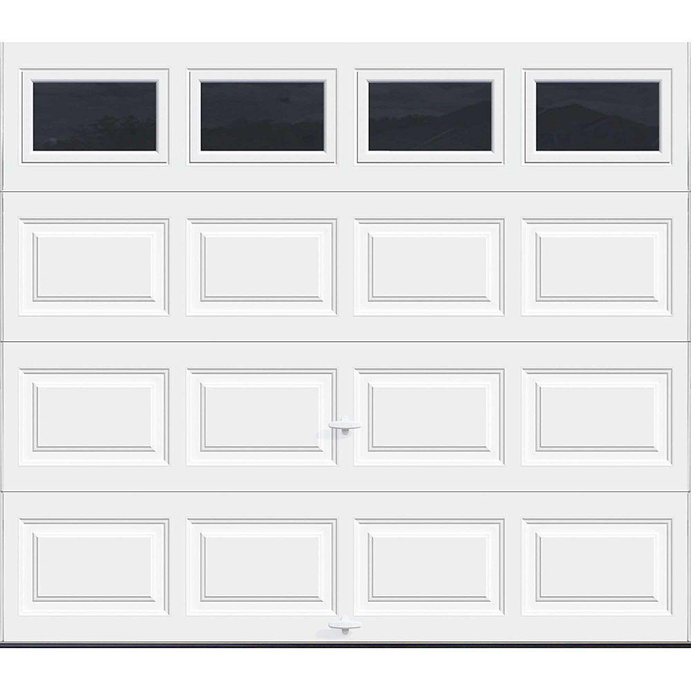 Clopay Porte de garage Série Première 8pi x 7pi Valeur R 18.4 isolée en polyuréthane Intellicore Blanche avec fenêtres unies