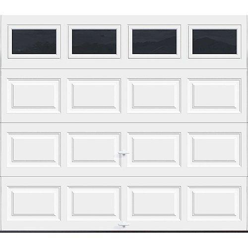 Porte de garage Série Première 8pi x 7pi Valeur R 18.4 isolée en polyuréthane Intellicore Blanche avec fenêtres unies