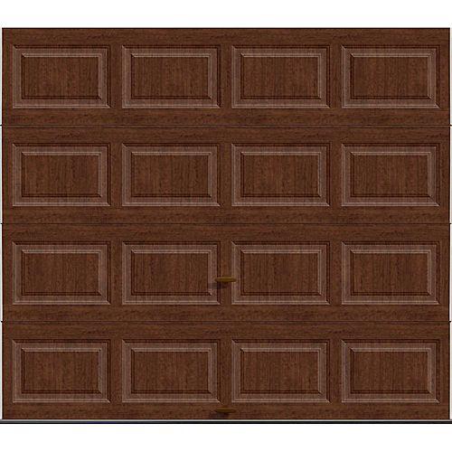 Porte de garage Série Première 9pi x 7pi Valeur R 18.4 isolée en polyuréthane Intellicore Fini Ultra-grain Cerisier