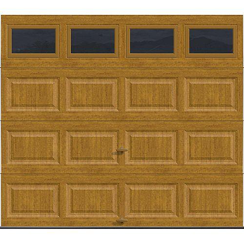 Clopay Porte de garage Série Première 8pi x 7pi Valeur R 18.4 isolée en polyuréthane Intellicore Fini Pâle et fenêtres