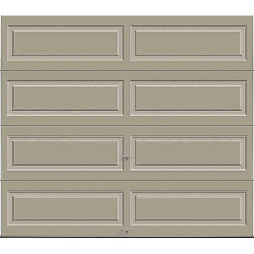 Clopay Porte de garage Série Première 8pi x 7pi Valeur R 18.4 isolée en polyuréthane Intellicore Sable