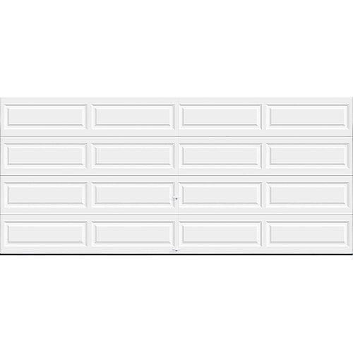 Porte de garage Série Première 16pi x 7pi Valeur R 18.4 isolée en polyuréthane Intellicore Blanche