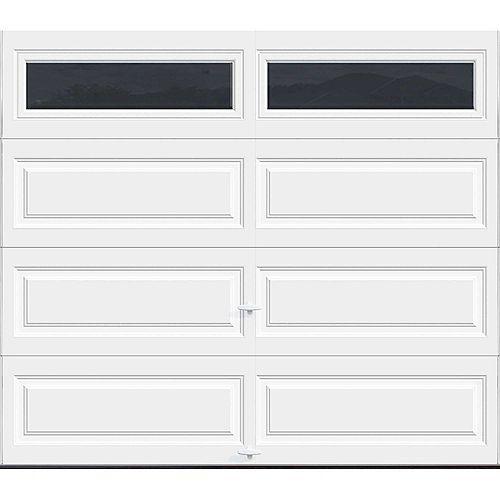 Porte de garage Série Première 8pi x 7pi Valeur R 18.4 isolée en polyuréthane Intellicore Blanche avec fen��tres unies