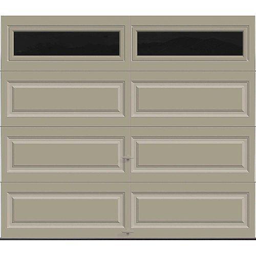 Porte de garage Série Première 8pi x 7pi Valeur R 18.4 isolée en polyuréthane Intellicore Sable avec fenêtres unies