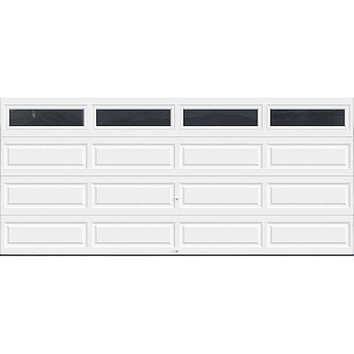 Porte de garage Série Première 16pi x 7pi Valeur R 18.4 isolée en polyuréthane Intellicore Blanche avec fenêtres unies