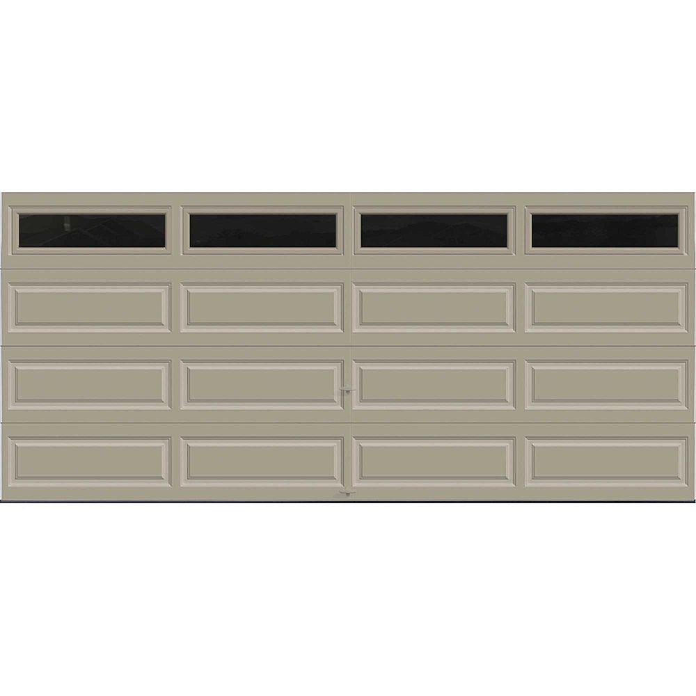 Clopay Premium Series 16 Ft X 7 Ft Intellicore Insulated Sandstone Garage Door With Plai The Home Depot Canada