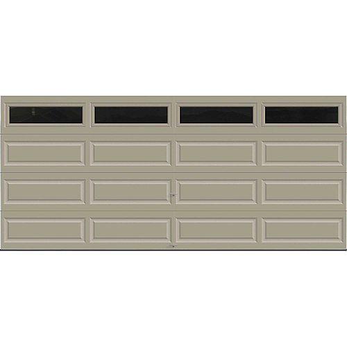 Porte de garage Série Première 16pi x 7pi Valeur R 18.4 isolée en polyuréthane Intellicore Sable avec fenêtres unies