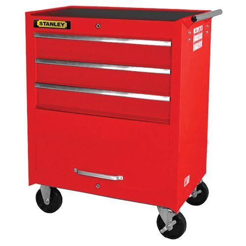 27-inch 3-Drawer 1-Door Cabinet in Red