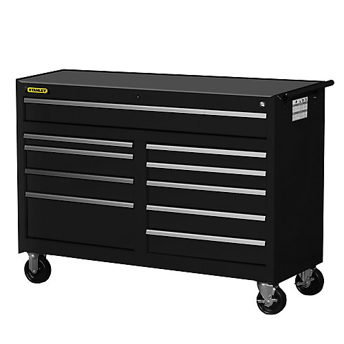 54 Inch 10 Drawer Cabinet, Black