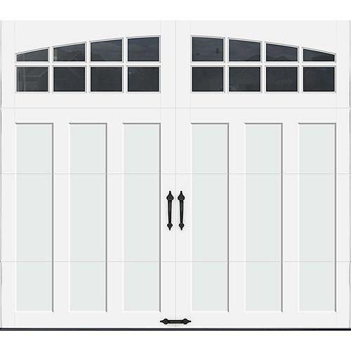 Clopay Porte de garage Collection Coahman 8 pi x 7 pi Valeur R 18.4 isolée en polyuréthane intellicore Blanche Fenêtres Arch