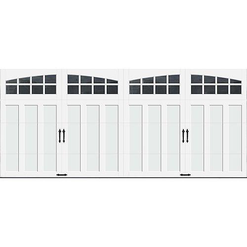 Porte de garage Collection Coahman 16 pi x 7 pi Valeur R 18.4 isolée en polyuréthane intellicore Blanche Fenêtres Arch