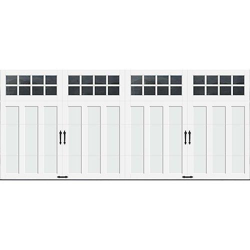 Porte de garage Collection Coahman 16 pi x 7 pi Valeur R 18.4 isolée en polyuréthane intellicore Blanche Fenêtres SQ24