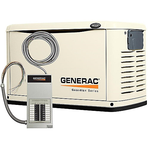 16,000W Air Cooled Automatic Standby Generator with 100 amp 16 Circuit Pre-wired Transfer Switch