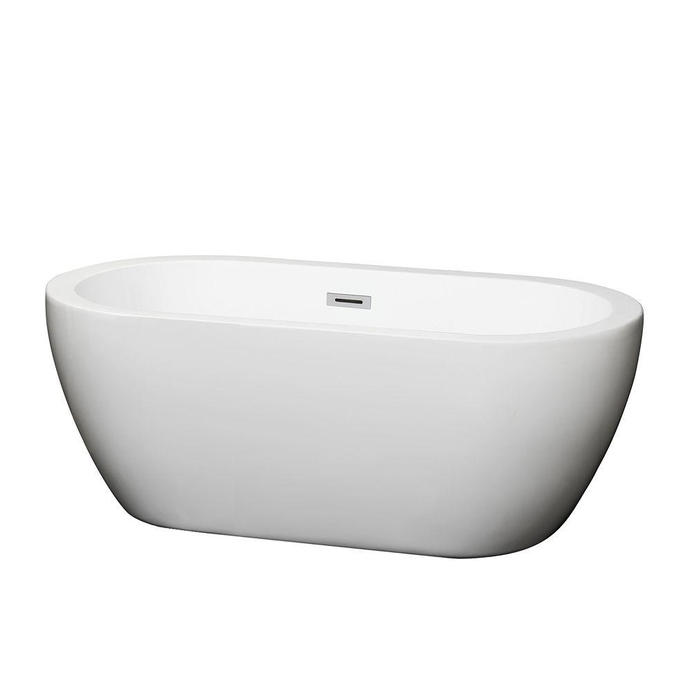 Wyndham Collection Soho 5 Feet Acrylic Freestanding Flatbottom Bathtub in White