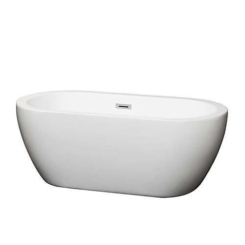 Soho 5 Feet Acrylic Freestanding Flatbottom Bathtub in White